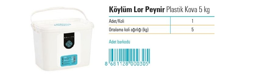 Koylum Whey Cheese in Plastic Bucket  5 kg