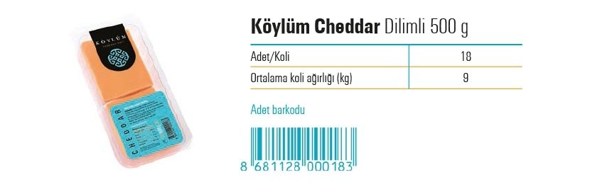 Koylum Sliced Prossed Cheddar Cheese  500 g