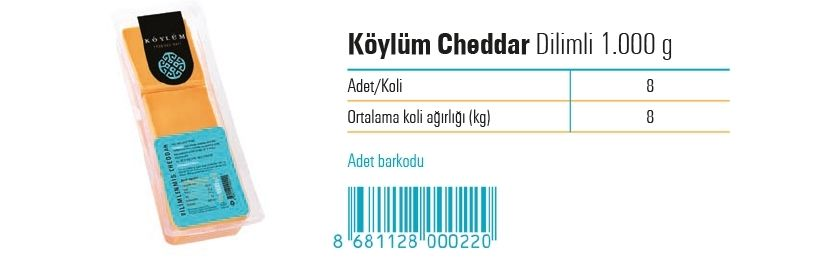 Koylum Sliced Prossed Cheddar Cheese  1.000 g