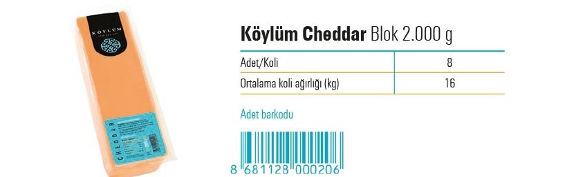 Koylum Block Prossed Cheddar Cheese  2.000 g